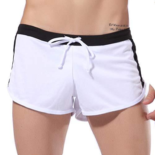 rts Herren Badehose Xjp MäNner Sexy Farbblock Riemchen UnterwäSche Mesh Shorts Boxer Unterhose Breathable Briefs Laufshorts Sommerhosen Strandhosen(XL, Weiß) ()
