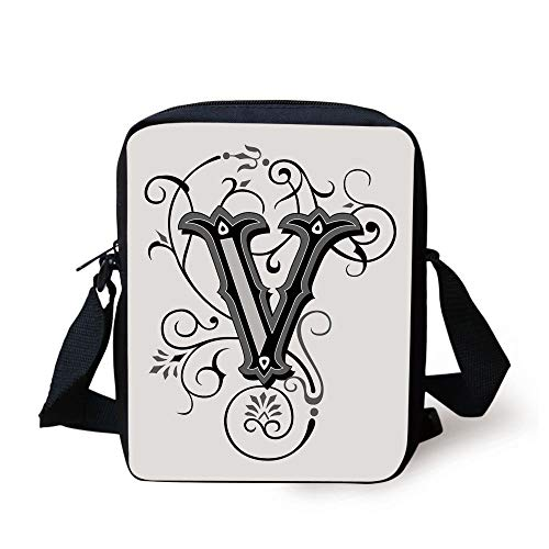 Letter V,Gothic Halloween Style Uppercase V with Curved Lines Ivy Stripes Calligraphy Decorative,Black Grey White Print Kids Crossbody Messenger Bag Purse
