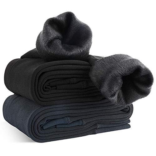 xddias 2 pezzi leggings donna inverno, leggings donna termici felpati caldi collant, fodera in caldo velluto lunghi intera pantaloni, nero e grigio