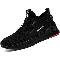 CHNHIRA Chaussure de Sécurité Homme Basket Embout Acier Protection Respirante résistante Chaussures de Travail Unisexes (EU42 ANoir)