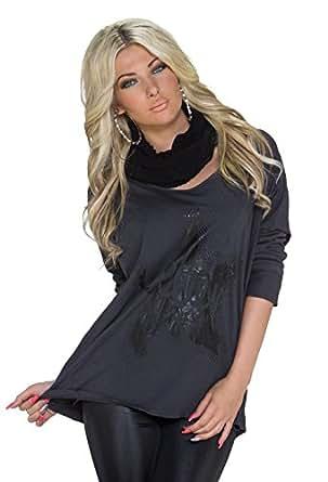 1011 Fashion4Young Damen Legere geschnittenes Oversize-Shirt mit Schal Gr. 36/38 (36/38, Dunkelgrau)
