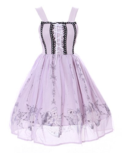 JSK-22 Lila Fee Butterfly Dreams Fairy Tail Pastel Goth Lolita Chiffon Kleid Cosplay Kostüm Harajuku