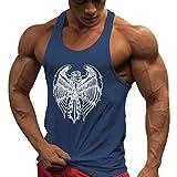 JiXuan Trainingsweste Gyms Unterhemd Fitness Tank Top Männer Stringer Bodybuilding Muscle Shirt Marineblau XL