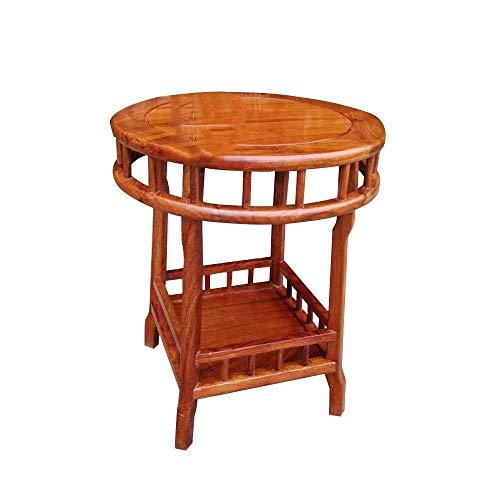 XIA Table de chevet Coin rond/Café/Table d'appoint/d'extrémité avec support de rangement Support à thé Table de téléphone à 2 niveaux Table de chevet en bois massif 50X60cm