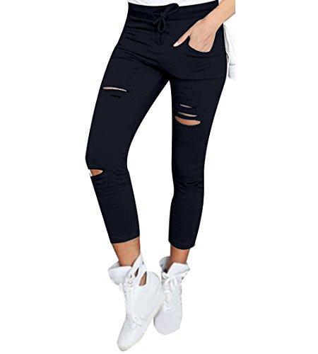 Mädchen Damen Aushöhlen Skinny Hose Strümpfe Leggings Stretch Schlitze Risse Jeggings Leggins (Zu Langstrumpf Machen Kostüme Pippi)
