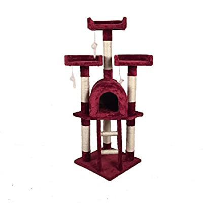 D2B NEW Cat Tree Scratching Post Scratch Activity Centre Bed Toys Scratcher (Red)