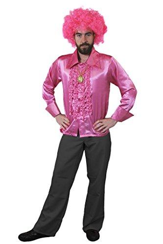 ILOVEFANCYDRESS 1960S KOSTÜM Disco Hippie Set Verkleidung=ROSA RÜSCHEN Hemd+Gold FARBENDEM Medallion+ROSA Afro PERÜCKE=Samstag Nacht Retro - 1960 Disco Kostüm
