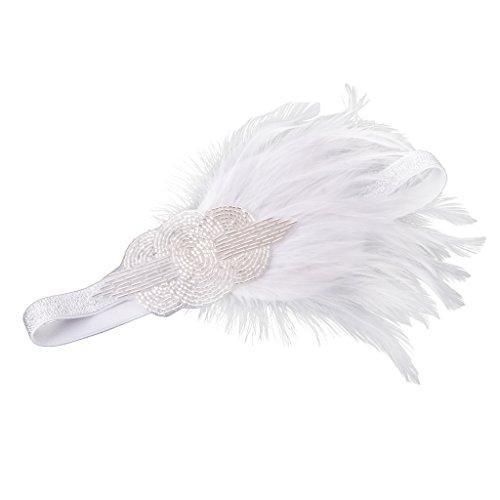 Kostüm Dress White Feather - Baoblaze Vintage White Feather Stirnband Hochzeit Kopfschmuck Great Gatsby Fancy Dress