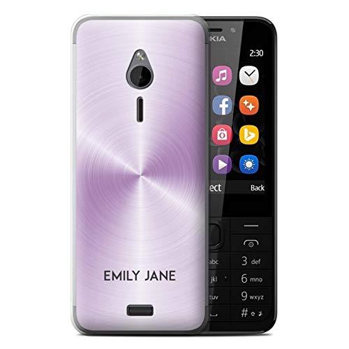 eSwish Personalisiert Individuell Gedruckter Effekt Metall Hülle für Nokia 230 / Lavendel Lila Design/Initiale/Name/Text Schutzhülle/Case/Etui
