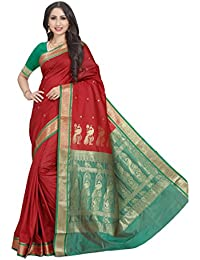 Craftsvilla Women's Silk Blend Buti Work Saree with Blouse Piece(MCRAF40525310980_Maroon_Free Size)