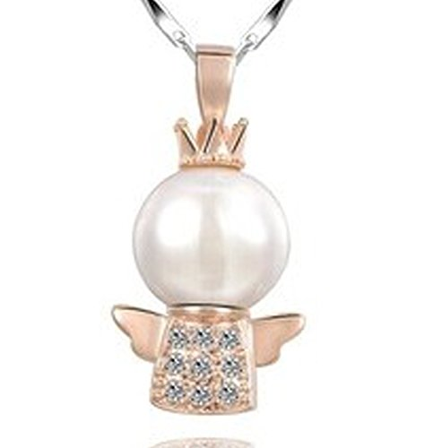 Ringe Größe Für Mädchen 10 9 (findout 925 Sterling Silber / Rose Vergoldet Zirkonia crown angel Perle 9-10 mm Anhänger Halskette .für Frauen Mädchen (F1069) (Rose Gold überzogen))