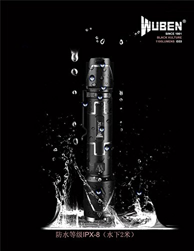 wuben USB aufladbare LED Taschenlampe Aluminium Wasserdicht CREE xpl-vs 1100Lumen Fahrradlicht und ideal für Outdoor Active inkl. 18650Akku Micro-USB-Kabel