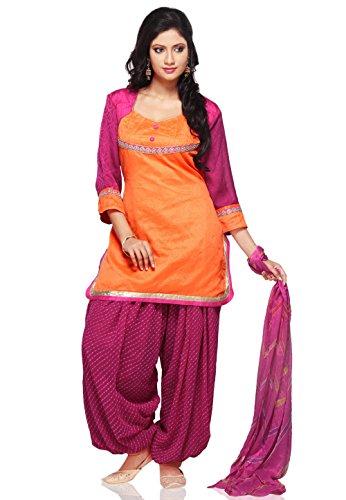 Utsav Fashion Plain Dupion Silk Punjabi Suit in Orange Colour