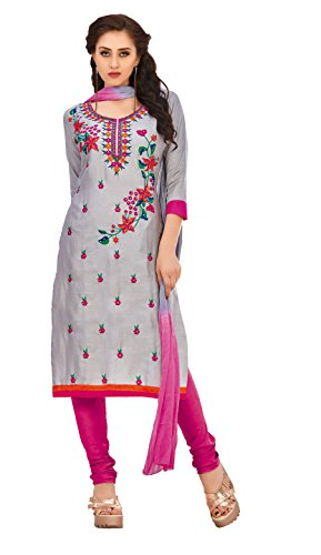 Oomph! Cotton Embroidered Salwar Suit Dupatta Dress Material - Fossil Grey