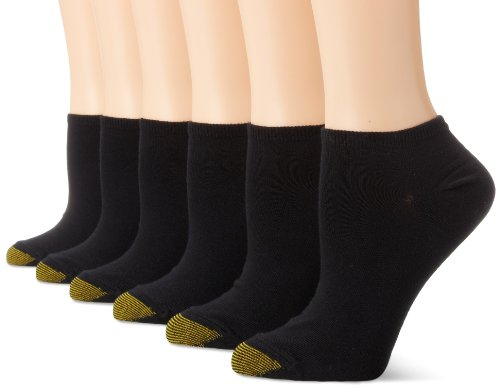 Gold Toe Damen 6 Paar Jersey-Futter Socken - Schwarz - Einheitsgröße -