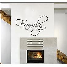 Ecloud Shop® Familia es para siempre Vinilos decorativos Arte Decoración Pegatina PVC