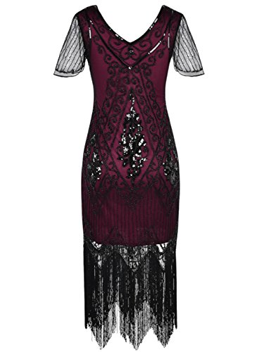 PrettyGuide Damen 1920er Charleston Kleid Pailetten Cocktail Flapper Kleid Mit Ärmel Burgund