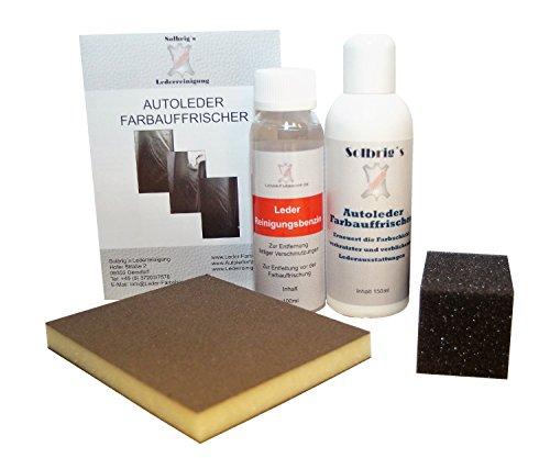 Solbrig´s Autoleder Farbauffrischer passend für Lederausstattung Mosaico light gelb (Q9LT) - Set (5-teilig) inkl. Reinigungsbenzin und Schleifpad