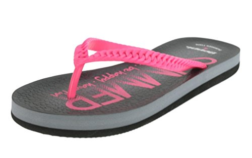Beppi 213040 Damen Badelatschen Zehentrenner Schwarz/Pink