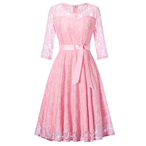 MOIKA Damen Kleider Elegant Lang Hochzeit Abendkleid Rundhals Spitzen Rockabilly Kleid Festlich...