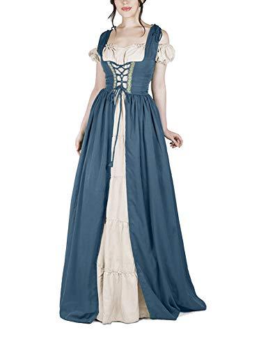 Guiran Medievale Vestito Donna Lungo Abito Travestimento Cosplay Costume Partito Abiti Blu L