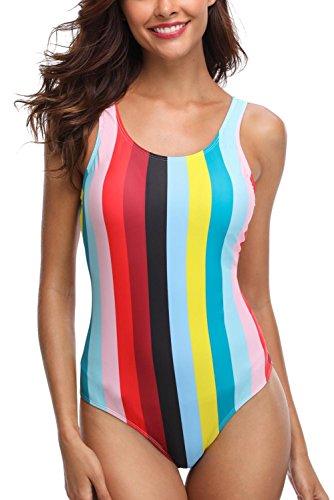 CharmLeaks Damen Streifen Einteiler Badeanzug Gestreift Schalen Slim Schwimmanzug Figurformende Bademode Rot #