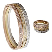 Love Bracelet and Ring Set, Adorned with Sparkling Swarovski Crystal Jewelry for Women (Silver/Gold/Rose Gold)