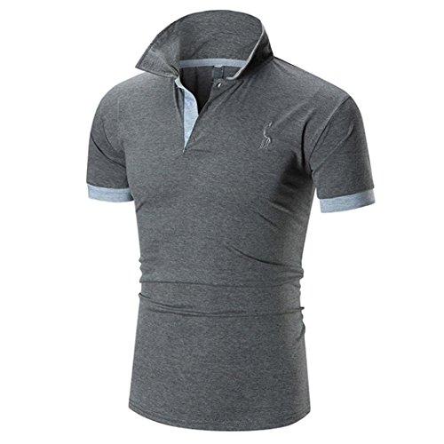 VEMOW Sommer Vatertag Geschenk Mode Business Männer Casual Sport Im Freien Schlank Kurzarm Fawn T-Shirt Top Bluse Pullover(Grau, EU-56/CN-2XL)