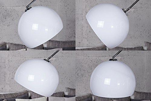 Design Bogenlampe Late Lounge weiss 175-205 mit Marmorfuß -