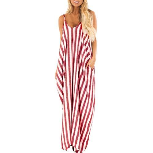 Beikoard Kleid Damen Gestreift lang Maxikleid Urlaub Riemchen Sommerkleid Mode Rockabilly Boho-Kleid ()