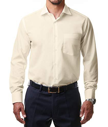Alessandro Tonelli Alessandro Tonelli Herren Klassik Hemd Business Bügelleicht Freizeit Hochzeit Feier Basic Regular Fit Shirt U03-063, Farbe:Beige, Größe:37 / S