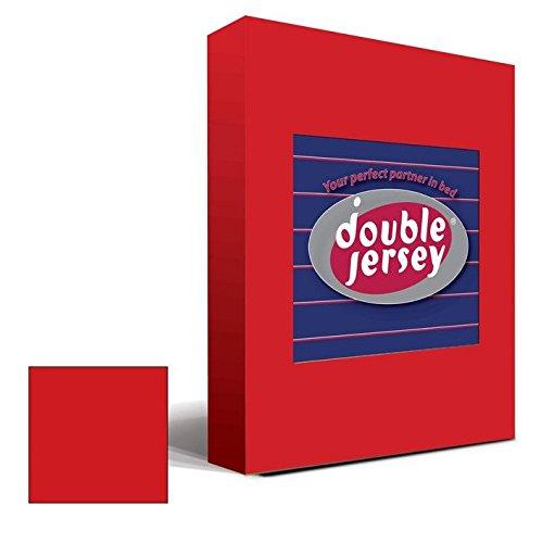 Double Jersey - Spannbettlaken 100% Baumwolle Jersey-Stretch bettlaken, Ultra Weich und Bügelfrei mit bis zu 30cm Stehghöhe, 160x200x30 Rot - 2