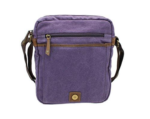 CACTUS tela e Distressed Leather Messenger Bag oliato CM815_81 Viola Purple