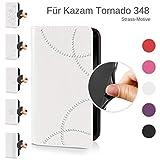 eSPee Handyhülle für Kazam ✅ Tornado 348 ✅ – unzerbrechliche Schutzhülle – aus Silikon mit Strass Bögen – unsichtbarer Magnetverschluss – Hülle in Cremeweiß