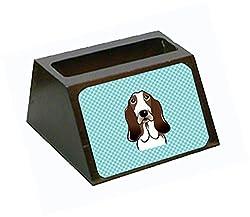 Carolines Treasures Checkerboard Blue Basset Hound Decorative Desktop Wooden Business Card Holder, Large, Multicolor