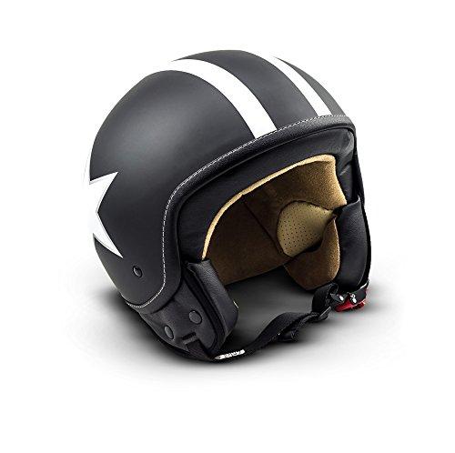 SOXON SP-301-STAR Black Casco Demi-Jet Chopper Cruiser Biker Mofa Helm