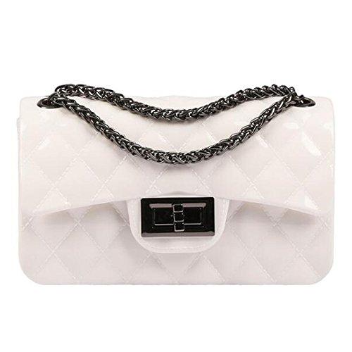 BYD Damen Mini PU Leder Gesteppt Handtasche Schultertaschen Ketten Tasche mit Steppmuster und Kettenhenkel Maedchen(Gebrochenes weiß) (Handtaschen Gesteppte Taschen)