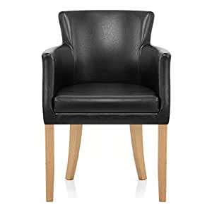 Pedro Oak Dining Chair Black Kitchen Home