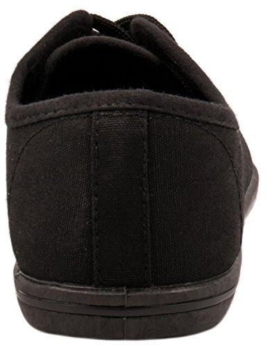 Elara Basic Sneakers | Sportlich Bequeme Turnschuhe | Low Schnürer Schwarz Basic