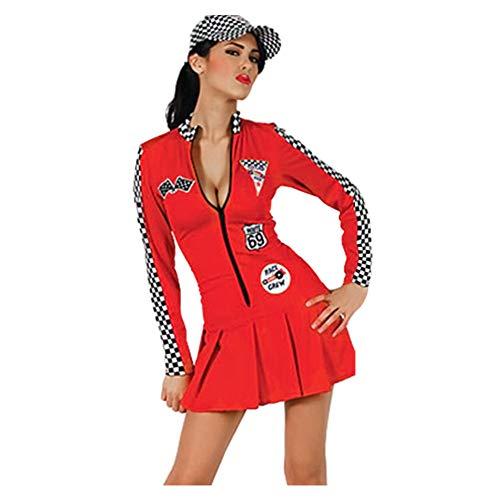 (Meijunter Damen Cheerleader Kostüm - Lange Ärmeln Reißverschluss Vorne Racer Baseball Player Sports Club Uniform Cheer Girl Dress)