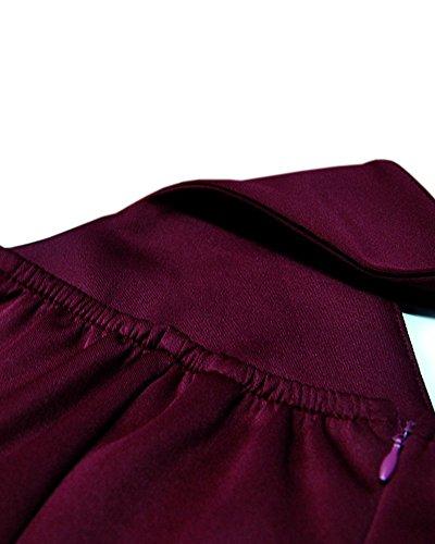 SaiDeng Femme Col Profond V Halter Dos Nu Sans Manches Lanterne Jupe Robe De Fête Robe Mi-Cuisse Vin rouge