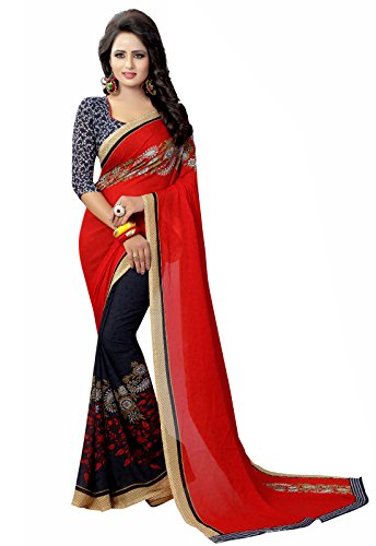 Ishin Faux Georgette Purple & Red Half & Half Printed Party Wear Wedding Wear Casual Wear Festive Wear Bollywood New Collection Latest Design Trendy Women's Saree/Sari  available at amazon for Rs.449