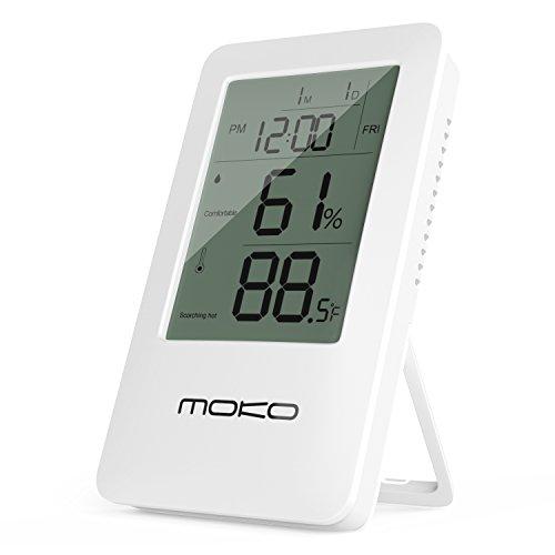 MoKo Digital Hygrometer Thermometer, Multifunktionale 2-in-1 Wireless Innenraum Temperature Meter Feuchtigkeit Monitor Sensor Elektronische LCD-Bildschirm mit Zeitanzeige und Eingebauter Hintergrundbeleuchtung Wecker, Weiß (Digitale Tempo-uhr)