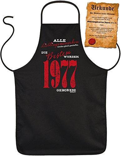 Geschenk zum 40. Geburtstag Schürze mit Urkunde Lieblingsmenschen 1977 geboren zum 40 Geburtstag Küchenschürze 40 jähriger Geschenk für 40 Jährige