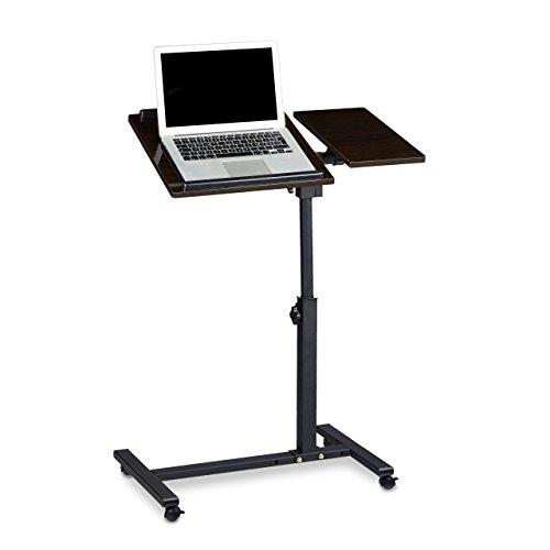 Relaxdays Laptoptisch höhenverstellbar HBT 95 x 60 x 40 cm Notebook Ständer auch für Linkshänder Sofatisch Beistelltisch mit Rollen und Ablage für Maus mit 2 Stopp-Leisten, Ebenholz, schwarz