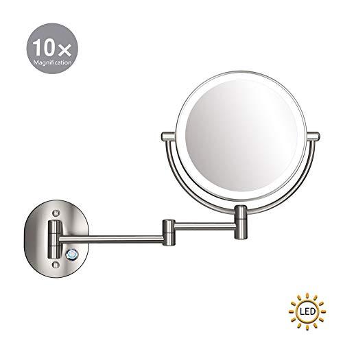 XNDCYX Espejo De Aumento De Pared, Espejo De Maquillaje 10X Aumento Doble Cara Giratoria De 360 ° Espejo...