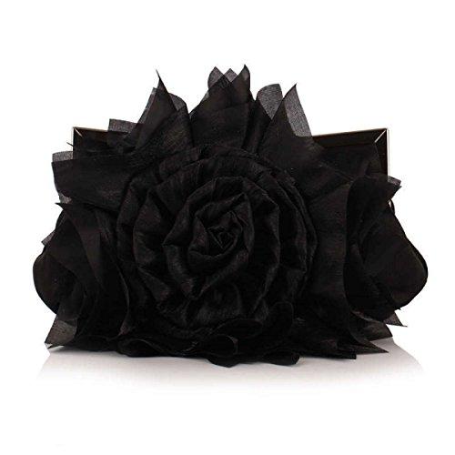 Abendessen Beutel Brautbeutel Abendtasche Tasche Bankett Black Rosen Mode Fashion qXPwYA