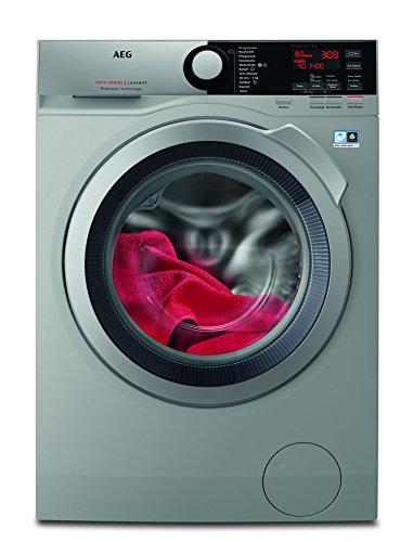 AEG L7FE74485S Waschmaschine / ProSteam -Auffrischfunktion / 8,0 kg / Leise / Mengenautomatik / Nachlegefunktion / Kindersicherung / Schontrommel / Allergikerfreundlich/ Wasserstopp/1400 U/min/Silber