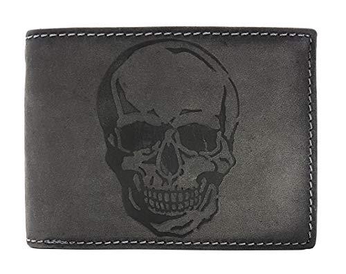 Portafoglio in vera pelle con teschio e protezione RFID