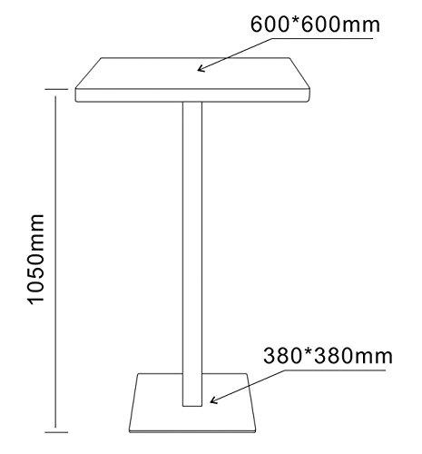 SixBros. Bartisch Stehtisch Bistrotisch Schwarz 60x60x105 - M-BT60H/2349 - 2